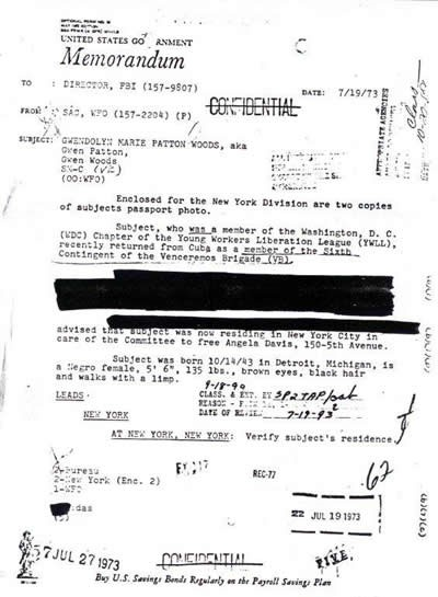 FBI and CIA documents for Gwendolyn M. Patton