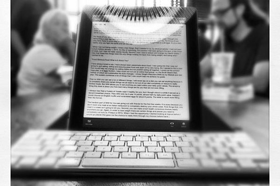 Writing with a laptop