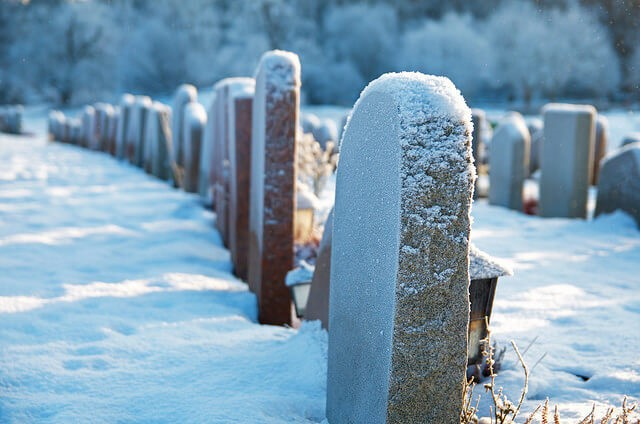 Graveyard in the snow